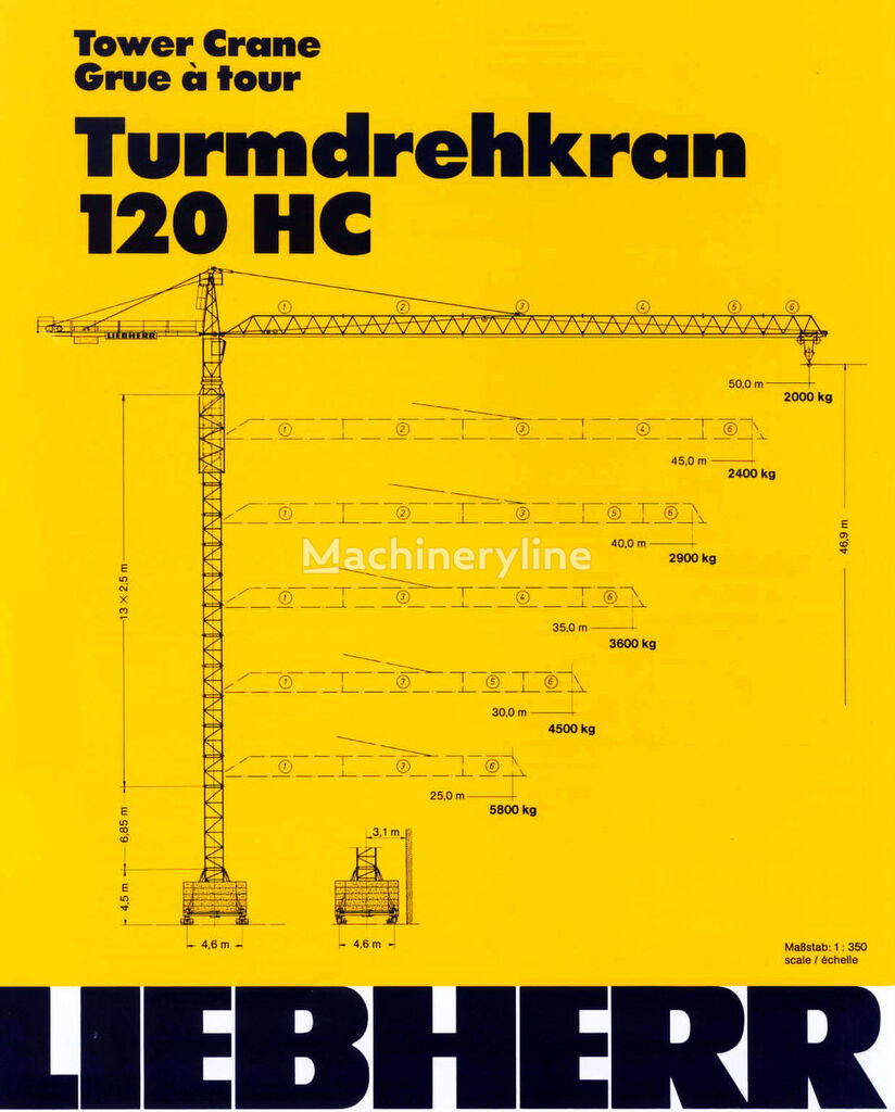 οικοδομικός γερανός (πυργογερανός) LIEBHERR 120 HC